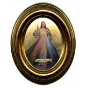 "English Divine Mercy Gold Leaf Oval Picture cm.12.5x10.5- 5""x4 1/4"""