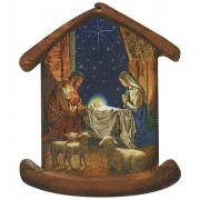 "Nativity House Plaque- Christmas Tree Ornament cm.10.5x12.5- 4""x5"""