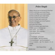 "Pope Francis Laminated Prayer Card French cm.7x12- 2 3/4""x 4 3/4"