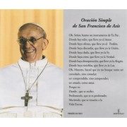 "Pope Francis Laminated Prayer Card Spanish cm.7x12- 2 3/4""x 4 3/4"