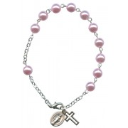 Imitation Pearl Rosary Bracelet Pink mm.7 RBN7-6