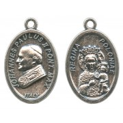 Pope John Paul II/ Regina Poloniae Oval Oxidized Medal mm.22- 7/8""
