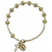 Strass Rosary Bracelet Crystal Gold Plated mm.6