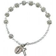 Strass Rosary Bracelet Crystal Silver Plated mm.6