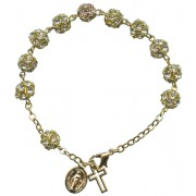 Strass Rosary Bracelet Crystal Gold Plated mm.8