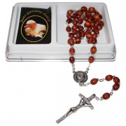Pope John Paul II Wood Rosary mm.7x8 Simple Link Natural (1555-01)