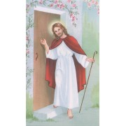 "Holy card of Jesus at the Door cm.7x12- 2 3/4""x 4 3/4"""
