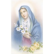 """Holy card of a mother holding flowers cm.7x12- 2 3/4""""x 4 3/4"""""""