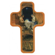 "Nativity with Sheep Cross Fridge Magnet cm.4x6 - 2 1/2""x 4 1/4"""