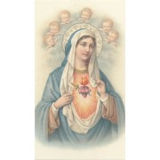 """Holy card of the Immaculate Heart of Mary cm.7x12- 2 3/4""""x 4 3/4"""""""