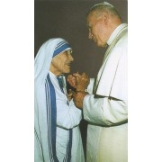 """Holy card of Mother Theresa and Pope John Paul cm.7x12- 2 3/4""""x 4 3/4"""""""