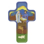 "Cartoon Nativity Cross Fridge Magnet cm.4x6 - 2 1/2""x 4 1/4"""