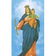 """Tarjeta de Santa de Nuestra Señora ayudante de los cristianos cm.7x12- 2 3/4 """"x 4 3/4"""""""