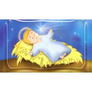"Holy card of animated baby Jesus cm.7x12- 2 3/4""x 4 3/4"""