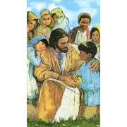 "Holy card of Jesus with Children cm.7x12- 2 3/4""x 4 3/4"""