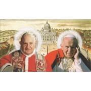 "Holy card of St.John Paul II and St.John Paul XXIII cm.7x12- 2 3/4""x 4 3/4"""