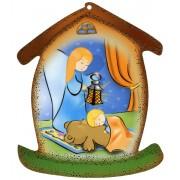 """La plaque en forme de maison avec ange gardien cm.10.5x12.5- 4 """"x5"""""""