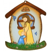 "Jesus and Child House Shaped Plaque cm.10.5x12.5 - 4""x5"""