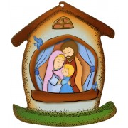 "Holy Family House Shaped Plaque cm.10.5x12.5 - 4""x5"""