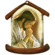 "Jesus Praying House Shaped Plaque cm.10.5x12.5 - 4""x5"""