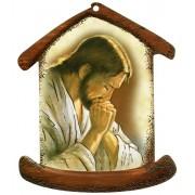 """La plaque en forme de maison avec Jésus Prier cm.10.5x12.5- 4 """"x5"""""""