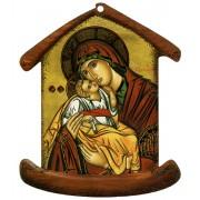 """Placa con forma de casa con Icon Madre y el Niño cm.10.5x12.5- 4 """"x5"""""""