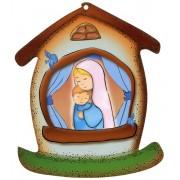 """Placa con forma de casa con la Madre y el Niño cm.10.5x12.5- 4 """"x5"""""""