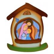 """Imán con forma de casa con la sagrada familia cm.5.5x6.6 - 2 1/4 """"x 2 5/8"""""""