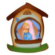 """Aimant en forme de maison avec la Mère et l'Enfant cm.5.5x6.6 - 2 1/4 """"x 2 5/8"""""""