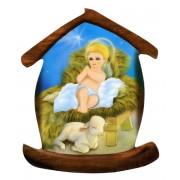 """Aimant en forme de maison avec l'Enfant Jésus cm.5.5x6.6 - 2 1/4 """"x 2 5/8"""""""