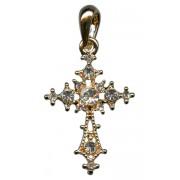 """Croix pendentif plaqué or avec cristaux clairs cm.3 - 1 1/8"""""""