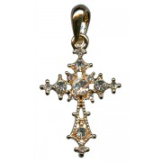 """Gold Plated Cross Pendant with Clear Crystals cm.3 - 1 1/8"""""""