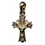 Gold Plated Cross Pendant with Clear Crystals cm.2.5- 1""