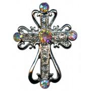 """Pin de la solapa de una cruz de plata chapado con cristales claros cm.2.5x3.5- 1 """"x1 3/8"""""""
