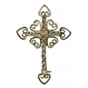 "Gold Plated Cross Lapel Pin with Clear Crystals cm.3x4.5- 1 1/8""x 1 3/4"""