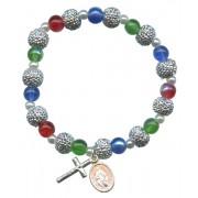 Bracelet en verre multicolore et métal