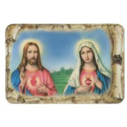 "Sacred Heart of Jesus and Immaculate Heart of Mary Scroll Fridge Magnet cm.4x6 - 2 1/2""x 4 1/4"""