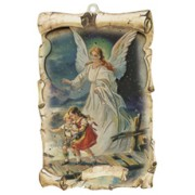 "Guardian Angel Raised Scroll Plaque cm.10x15 - 4""x6"""