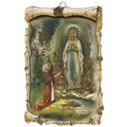 "Lourdes Raised Scroll Plaque cm.10x15 - 4""x6"""