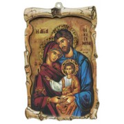 "Icon Holy Family Raised Scroll Plaque cm.10x15 - 4""x6"""