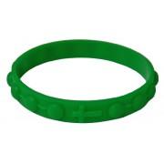 Pulsera rosario hecho de silicona elástico en el color verde