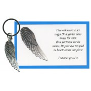 Angel Wing Keychain with French Card