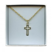 Outlined Cross Gold Plated Pendent