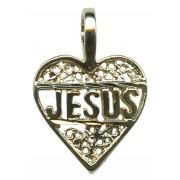 Heart Filigree Jesus Pendent