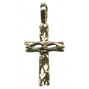 Wooden Look Cross Pendent Gold Plated