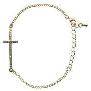 Crystal Cross Gold Plated Bracelet with Gift Box