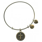 Gold Plated Bracelet with Dangling Cross and 2 Charms with Gift Box