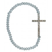 Silver Plated Cross with Clear Crystals Bracelet with Gift Box