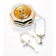 Rosary Set With Mother of Pearl Rosary and Metal Box