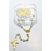 Imitation Pearl Rosary Gold Plated Boxed